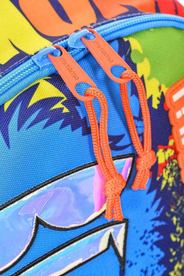 dettaglio zaino mitama plus fluo graffiti