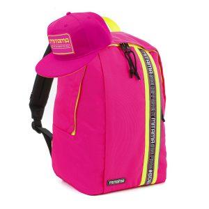 fronte zaino mitama colortouch rosa fucsia fluo con cappello