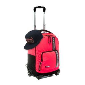 fronte zaino trolley mitama colortouch rosso corallo fluo con cappello